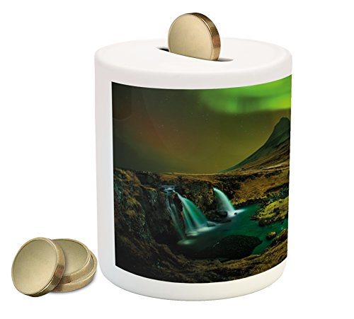 Box Creek House (Aurora Borealis Piggy Bank by Ambesonne, Pale Weather over the Hills with Waterfall Creek Nature Landscape, Printed Ceramic Coin Bank Money Box for Cash Saving, Fern and Olive green)