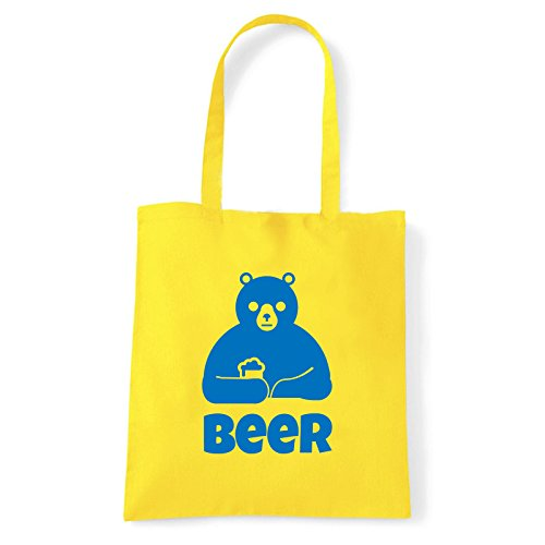 Art T-shirt beer-bag - Bolso al hombro de Algodón para mujer amarillo