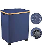 Upgrade-Version Large Laundry Hamper with Lid Foldable Storage Basket with Wheels Easily Transport Collapsible Organizer Bin with Handles for Clothes, Toys, Towels, Laundry