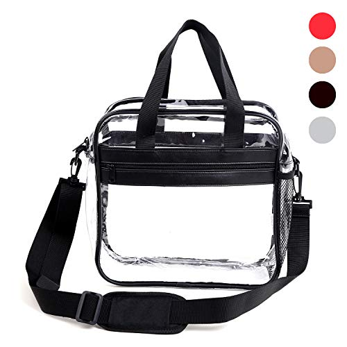 Dinky Planet Clear Bag NFL Stadium Approved 12x6x12 Freeze-proofing, Tote Bag Carry Handles Removable Shoulder Straps PVC Bag for Woman and Man (Black)