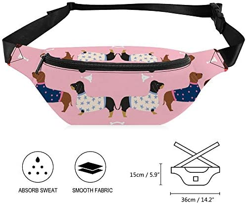 ダックスフント犬の生地セーター生地の犬ドキシー犬のデザイン-ピンク ウエストバッグ ショルダーバッグチェストバッグ ヒップバッグ 多機能 防水 軽量 スポーツアウトドアクロスボディバッグユニセックスピクニック小旅行