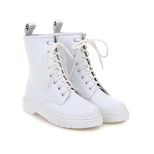 PU Toe Round Solid Women's Low Low Closed White Heels Boots top AgooLar qOTwx