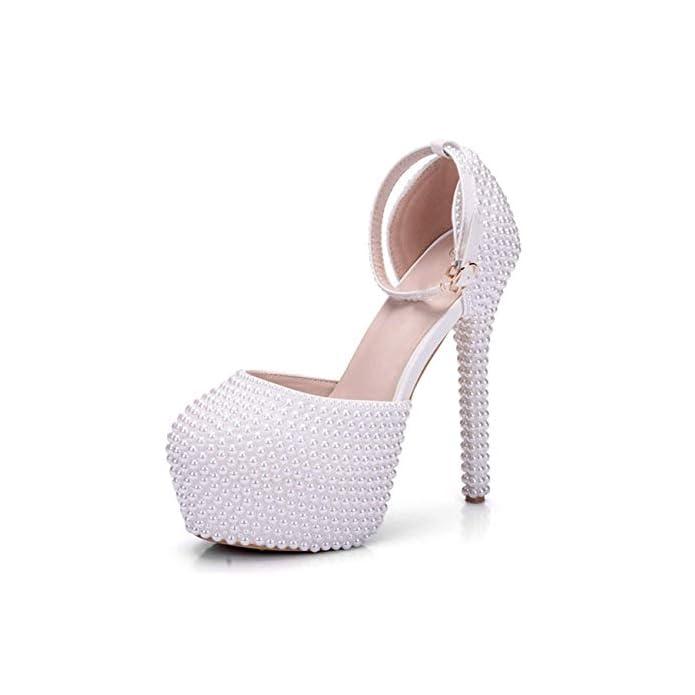 Platform Hidden colore Beading Strap Ankle Dimensione Sposa Avorio Da - Qiusa Uk Matrimonio Scarpe 6 - Pearl Ladies