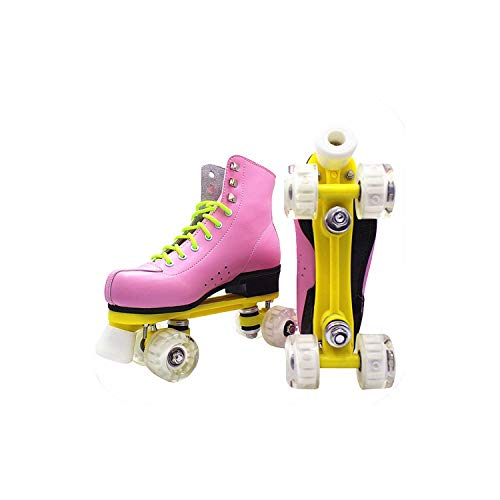 Juvenile shoulder Pu Leather Roller Skates Double Line Patines Women Lady Models Adult Pink with Racing 4 Pu Wheels Two Line Roller Skating Shoes,Pink,43