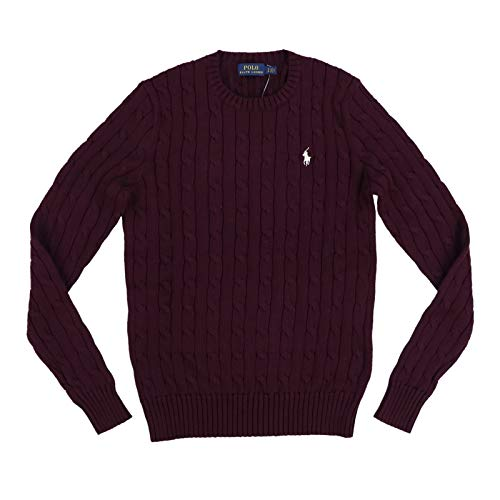 Polo Ralph Lauren Womens Cable Knit Crew Neck Sweater (Large, Burgundy)
