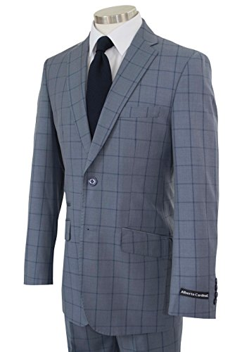 Alberto Cardinali Men's Windowpane Check 2 Button Slim-Fit Suit [Color: Gray | Size: 48 Long / 42 Waist] ()