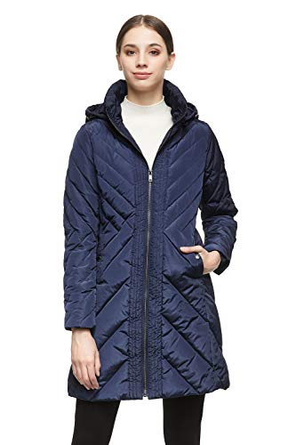 Orolay Women's Down Jacket Winter Removable Hooded Coat Navy S