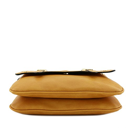 Crossbody Flapover Mustard Compartment Large Double Bag aAt6wt