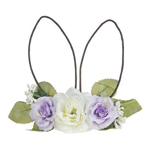 Children's Baby Cloth Art Rattan Lovely Rabbit Ears Headband Headwear (Light purple)]()