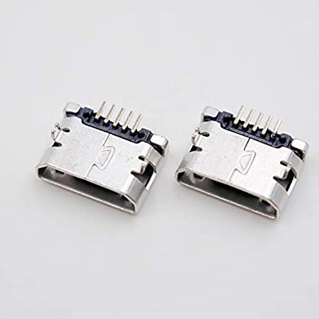 Gimax 10pcs 6.4 Crimp Flat 5Pin Micro Usb Connector Female for MP3 Color: Flat 4//5 Huawei Lenovo Zte and Other Mobile Tabletels