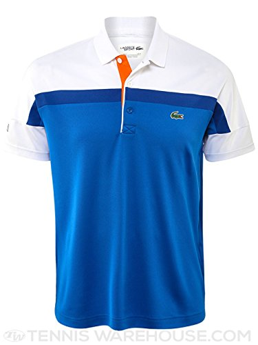 Lacoste Men's Tennis Short Sleeve Color Block Pique Polo Shirt, Victorian