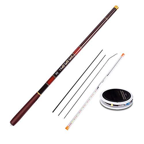 Pole Fishing Rods Carbon Fiber 3.0-7.2M Telescopic Fishing Rod Combo with Fishing Line/Float/Rig Carp Fishing,Red,3.0 m