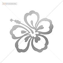 Vinyl Stickers Decal Hibiscus For Helmet waterproof hawaiian nature abloom margerite (4 X 3,85 Inches) Matte Metallic Silver