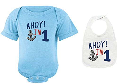 [Birthday Party Supplies 1st Birthday Gift Ahoy I'm 1 Nautical Light Blue Bodysuit and White Bib Bundle 18] (All White Party Outfit Ideas)