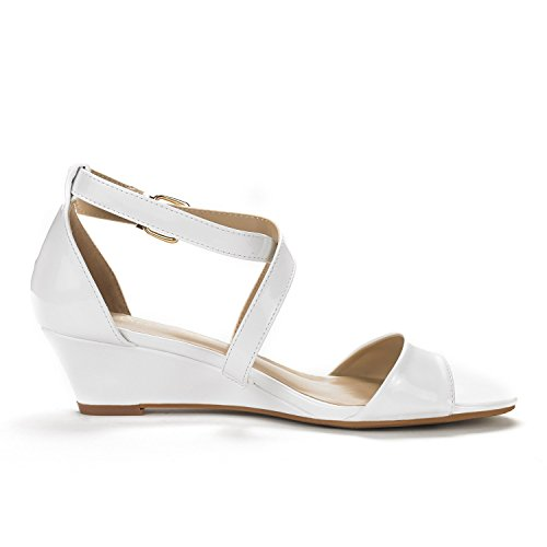50c591aa98b ... DREAM Dress Wedge Jones Thong Women Sandals pat Pumps PAIRS Crossover  white Low rqxA0rw ...