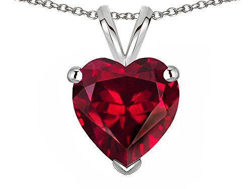 (Star K 8mm Heart Created Ruby Pendant Necklace 14 kt White Gold)