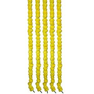Giant Roots Pack of 5 Artificial Marigold Fluffy Decoration Flowers Garlands for Home, Office, Wall, Door, Main Door Decoration (4.5 Feet Each, Yellow) 46