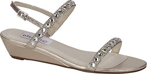 Women's Jasmine Dyeables Sandal Wedge Champagne Shimmer dvxFqRwHF