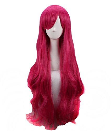 Women's Long Wavy Magenta Cosplay Wig Halloween -