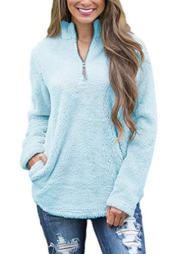 FOURSTEEDS Women's Casual Relaxed Fit Sherpa Fleece Zipper Long Sleeves Tops with Pockets M by FOURSTEEDS