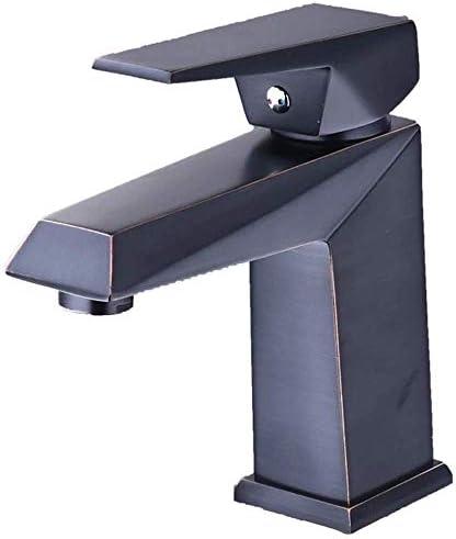 ShiSyan 立体水栓 万能水栓 ヨーロッパのブラックブロンズ洗面銅バスルームバスルームホットとコールドシングルハンドル単穴の蛇口(色:ブラック) 混合水栓