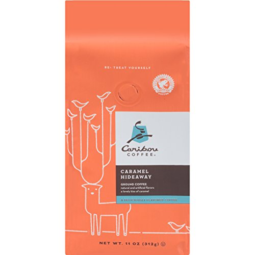 Caribou Coffee, Flavored Caramel Hideaway, Ground Coffee, 11 oz. Bag, Smooth & Lightly Sweet Caramel Flavored Arabica Coffee, with Notes of Whipped Cream & Artisanal Caramel; Sustainable Sourcing