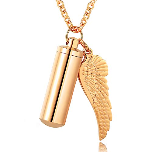 XIUDA Cremation Jewelry Urn Necklace for Ashes with Angel Wing Charm & Cylinder Eternity Stainless Steel (Rose Gold)