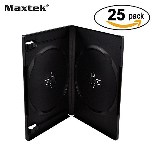 Maxtek 14mm Black Standard Double Capacity DVD Case and Outter Clear Sleeve, 25 pieces pack (Double Disc Dvd Case)