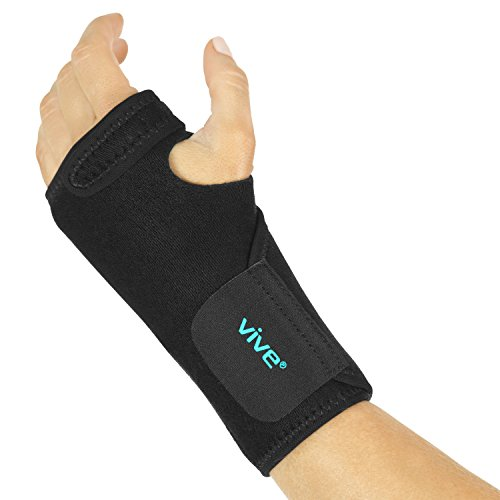 (Vive Wrist Brace - Carpal Tunnel Hand Compression Support Wrap for Men, Women, Tendinitis, Bowling, Sports Injuries Pain Relief - Removable Splint - Universal Ergonomic Fit, One Size Left Hand)
