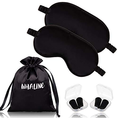 🥇 Whaline – Antifaz de seda para dormir con tapones para los oídos y correa elástica