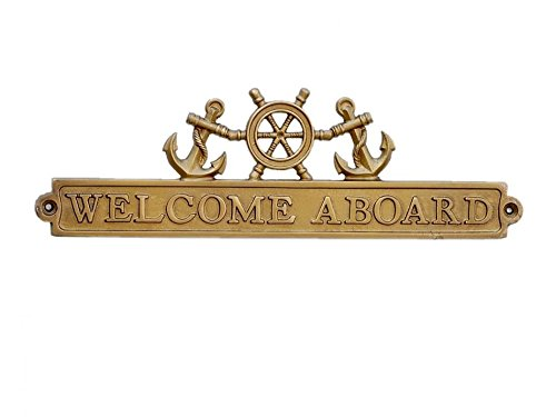 Handcrafted Model Ships Antique Brass Welcome Aboard Sign with Ship Wheel and Anchors 12