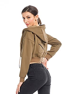 Clothink Crop Sweatshirt Hoodie Long Sleeve Zip UP Hooded Jacket Top