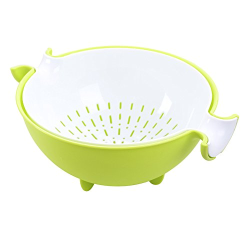 Toogoo Multifunctional Washing Vegetables And Fruit Draining Basket Detachable Double Layer Drain Baskets Storage Salad Bowl-Green+white