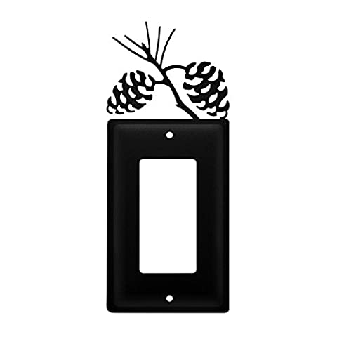 Iron Pine Cone Single Modern Switch Cover - Heavy Duty Metal Light Switch Cover, Electrical Outlet Covers, Lightswitch Covers, Wall Plate (Cast Iron Single Rocker)