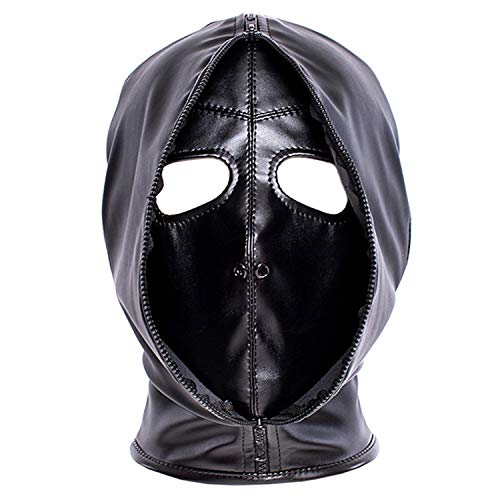 Leather Costume Head Mask Hood - Cosplay Black Soft Leather Mask Full Face Mask Nose Holes Breathable Unisex Halloween Masquerade Mask (Male -