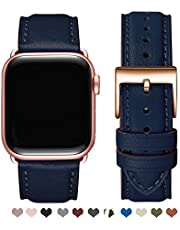 OMIU Square Bands Compatible for Apple Watch 42mm 44mm 38mm 40mm, Genuine Leather Replacement Band Compatible with Apple Watch Series 5/4/3/2/1 Edition (Darkblue/Rose Gold, 38mm 40mm)