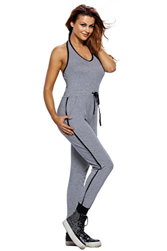 OUR WINGS Womens Halter V Neck Jersey Sports Jumpsuit Romper Tracksuit One Piece Outfits,Grey,X-Large