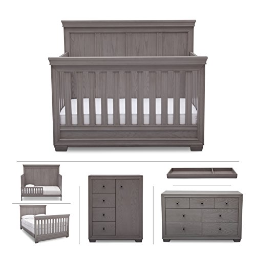 Simmons Kids Ravello 6-Piece Nursery Furniture Set (Convertible Crib, Dresser, Chest, Changing Top, Toddler Guardrail, Full Size Conversion), Storm Grey