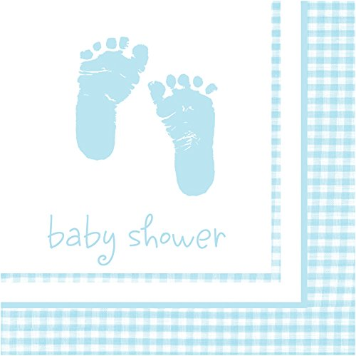 - Creative Converting Celebrations 16 Count Beverage Plaid Baby Boy Napkins, Blue