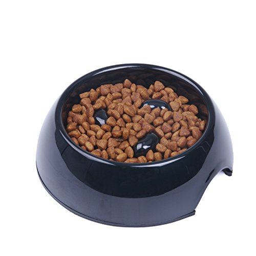 SUPER DESIGN Heavy Duty Melamine Non-skid Slow Feed Pet Bowl For Dogs and Cats S Black