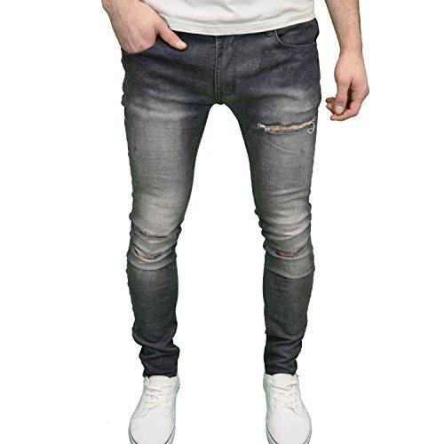 Con Soulstar Blast Marca Skinny Jeans Vestibilità Elasticizzato Uomo Di Da Stile Black Super Strappati UqZ6aqwA