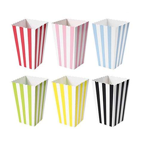 Mydio Set of 60 Open-Top Striped Popcorn Box, Carnival Parties Mini Paper Popcorn Containers, Popcorn Party Supplies for Movie Nights, Movie-Themed Parties-3.3 x 5.6 x 3.3 inches by Mydio