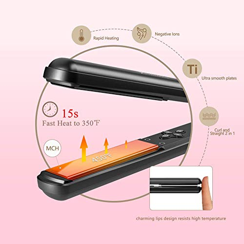 Jinri Professional Hair Straightener 1 Inch Ceramic Titanium Flat Iron Fast Heating with Auto Shut Off LED Digital Display & Anti Scald 3D Floating Plate (Black)