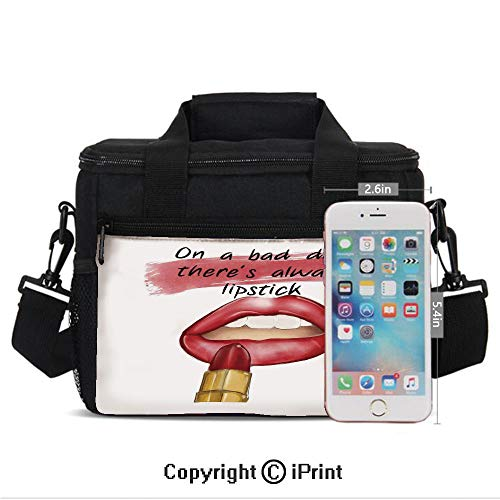 Insulated Lunch Box Bad Day Good Make Up Quote Sensual Beauty Charm Theme Inspirational Art Print Decorative Print Portable Lunch Bag Reusable Carry Boxes Cooler Tote Bag for School Work Office Picni