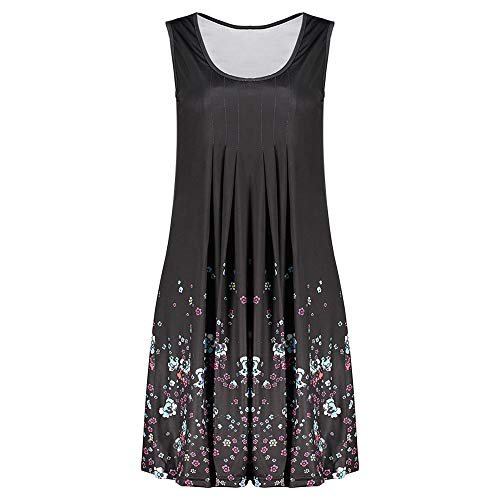 KCatsy Round Neck Sleeveless Printed Loose Casual Dress Black]()