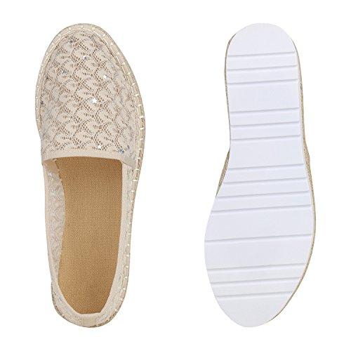Stiefelparadies Damen Espadrilles Bast Slippers Plateau Schuhe Slip Ons Spitze Flandell Creme