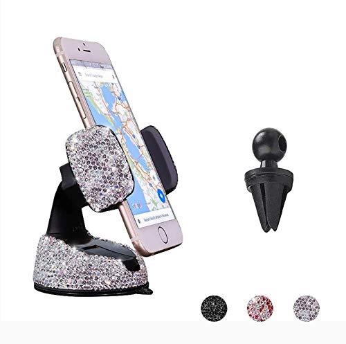 Bling Car Phone Holder, 360°Adjustable Crystal Auto Phone Mount Universal Rhinestone Car Stand Phone Holder Car…