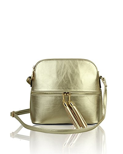 Redfox Elegant Tassel Zip Small Messenger Crossbody Women's Shoulder Bag Gold