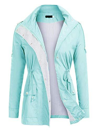 ZEGOLO Women's Waterproof Raincoat Outdoor Hooded Rain Jacket Windbreaker ()