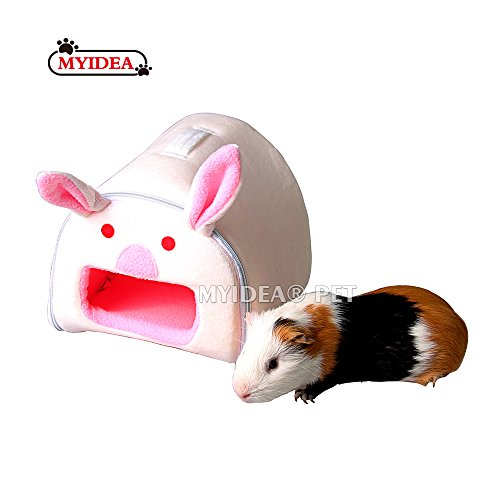 MYIDEA Hamster Guinea Pig Portable Bed – Small Animal Handing Cage Supplies House Hideout for Rat/Hedgehog/Ferret/Chinchilla/Rabbit Small Animal Cartoon Bedding (Small, Bunny)